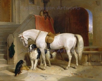"Sir Edwin Henry Landseer ""Favourites The Property of H.R.H. Prince George of Cambridge"" 1835 Reproduction Digital Print White Horse Dogs"