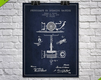 1878 Thomas Edison Phonograph Patent Poster, Patent Art Print, Patent Print, Blueprint, Wall Art, Home Decor, Gift Idea