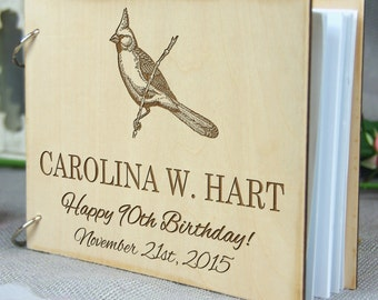 Beautiful Laser Engraved Personalized Birthday-Retirement-Wedding-Anniversary-Bridal Shower Guest Book /Gift , Memory Book, Rustic Theme