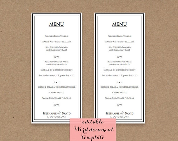 Printable Wedding Menu 4x9 Template Editable Add By