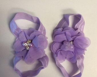 Lavender barefoot sandal 0-12 months