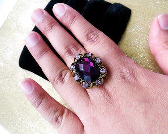 Purple / Gold Stone Statement Ring ~  The Queen's Jewel