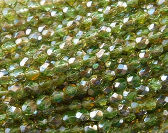 25 6mm Czech Chrysolite Celsian Green glass beads, round faceted firepolished beads, C7425
