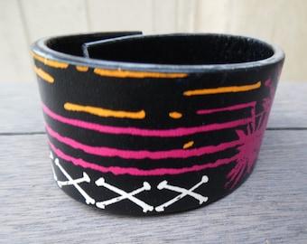 Black Pink White Green Skull Palm Trees Graffiti Punk Rock Skater Up-Cycled Leather Cuff Bracelet