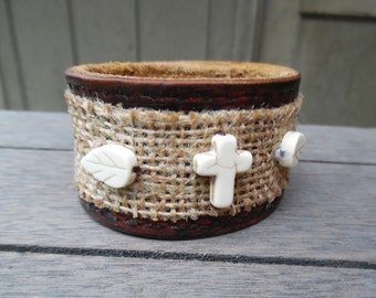 Burlap Brown Rust Ivory Leaves Cross Beads Up-Cycled Leather Cuff Bracelet