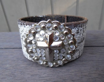 Rustic Brown Silver Metal Sparkly Rhinestones Cross Pendant Up-Cycled Leather Cuff Bracelet Bangle