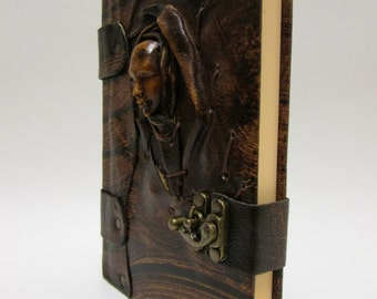Leather journal notebook face 3D woman