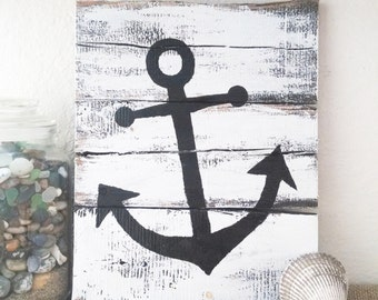 Rustic nautical pallet board art,  ocean signs, nautical decor, pallet board art, pallet board home decor, beach decor, photo prop, anchors