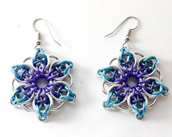 Blue, Purple & Silver Flower Chainmaille Earrings - Aluminum - Celtic Star - Chainmail Jewelry