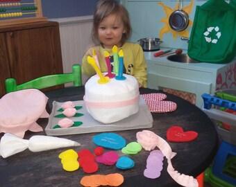 Decoratable Felt Happy Birthday Cake