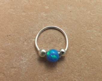 silver sterling nose ring with opal, nose ring nose piercing, nose jewelry, nose hoop, helix earring, helix piercing, helix jewelry