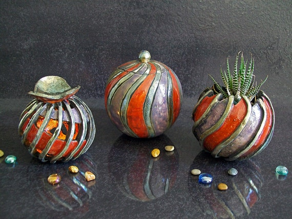 """Set Jewelry Box - essential oils diffuser - planter in raku pottery red series """"ANDROMEDA"""" - 15% OFF"""