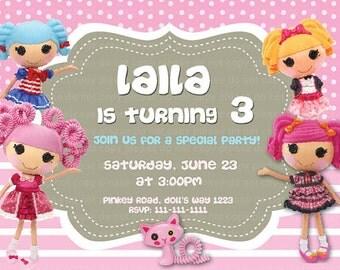 Invitación de la fiesta de cumpleaños de la muñeca lalaloopsy