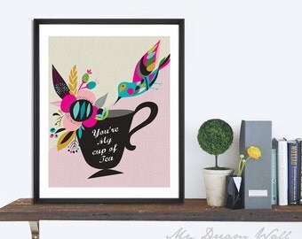 Tea Print, Bird, wall art home decor inspirational art wall decor