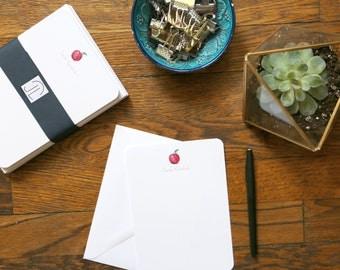 Customized Apple Stationery - set of 12 cards + envelopes