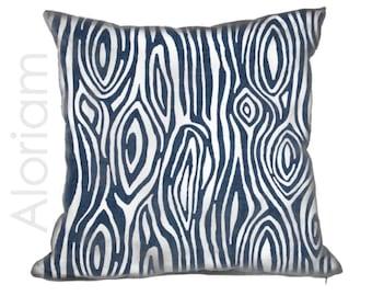 Faux Bois Wood Grain Navy Blue White Modern Throw Pillow Cushion Zipper Cover