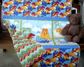"Have You Seen My Dinosaur?  Baby Crib Blanket Stippling Quilted Toddler Bedding Napping Stroller Blanket 41""x49"" Extra Large Size"