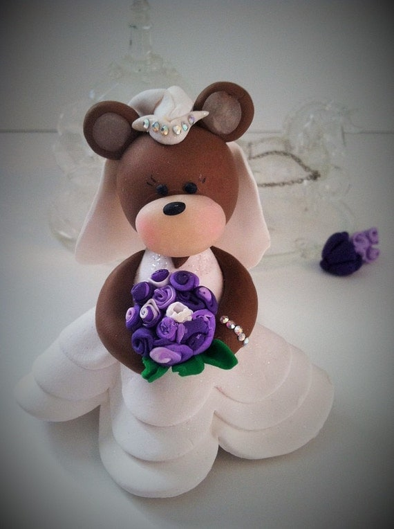 brown bear wedding cake toppers custom wedding cake topper polymer clay wedding 12190