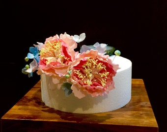 Sugar flowers peony and hydrangea cake topper - gumpaste flowers