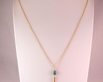 Necklace, necklace / / gold chain and Green Pearl