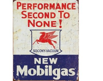 Performance Second To None! New Mobilgas Vintage Advertising Enamel Metal TIN SIGN Wall Plaque