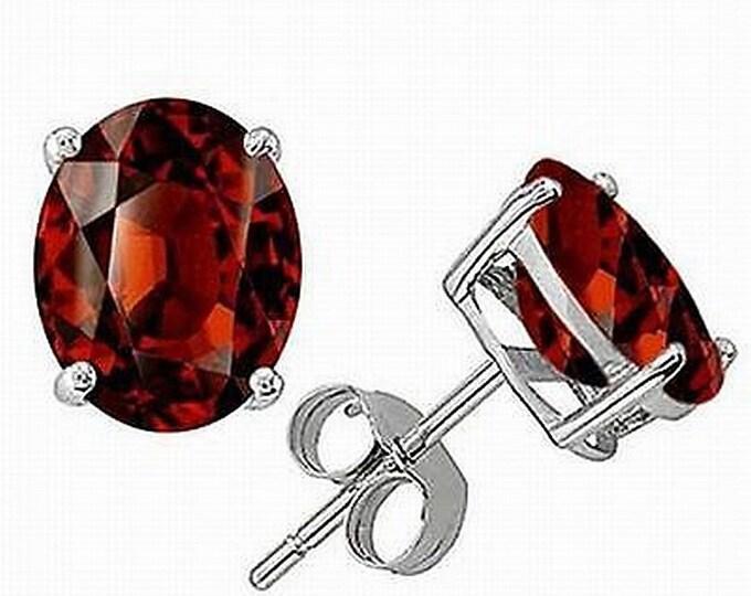 Garnet Earrings, Sterling Silver over Platinum Setting, January Birthstone Garnet Earrings