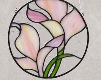Stained Glass Pink Flower Suncatcher