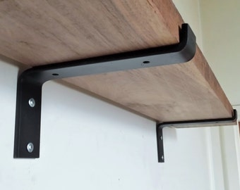 "10"" Industrial Light Load Shelf Bracket. Black Iron Bracket. Hand Forged Metal. Shelf Bracket**"