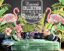 """Hawaii Flamingo Wallpaper Tropical Plant Forest Summer Holiday Wall Mural Wall Paper Trees Leaves Green Nature 55.5"""" x 36.5"""""""