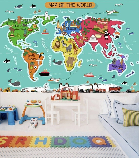 children 39 s world map wallpaper removable wall mural animal. Black Bedroom Furniture Sets. Home Design Ideas