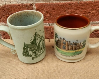 Pair of Vintage Mismatched Stoneware Mugs Sheffield Manor and Blithfield Hall, Made in England