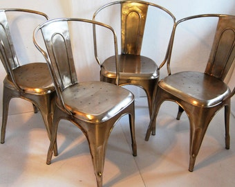 industrial French steel cafe side chairs set of four