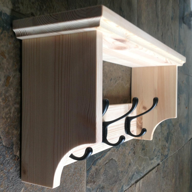 hat coat rack with single shelf wall mounted solid wood. Black Bedroom Furniture Sets. Home Design Ideas
