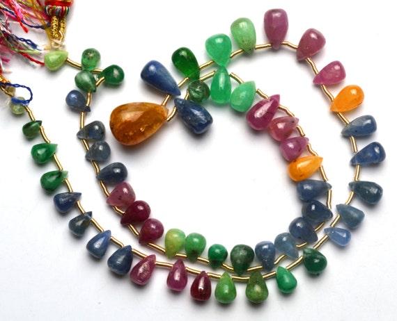 Natural Gem Emerald Ruby Sapphire Smooth Drop Shape Briolettes