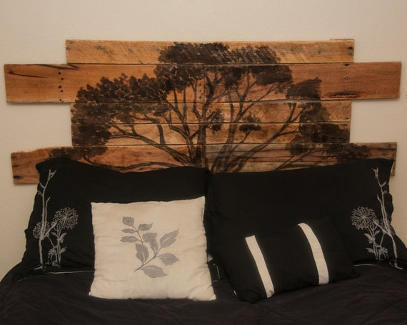 Rustic Wood headboard Backlit reclaimed wood headboard Pallet
