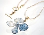 Real Hydrangea Pendant, Traditional Japan Blue, Indigo, A Patal with Beautiful Vein and Freshwater pearls Chain