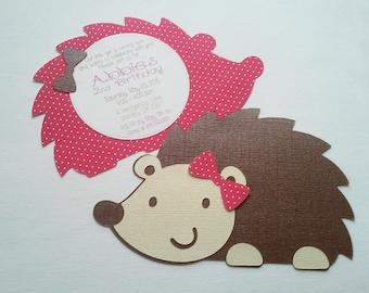 Hedgehog Birthday Invite - Cute Invites - Woodland Invite - Hootsie
