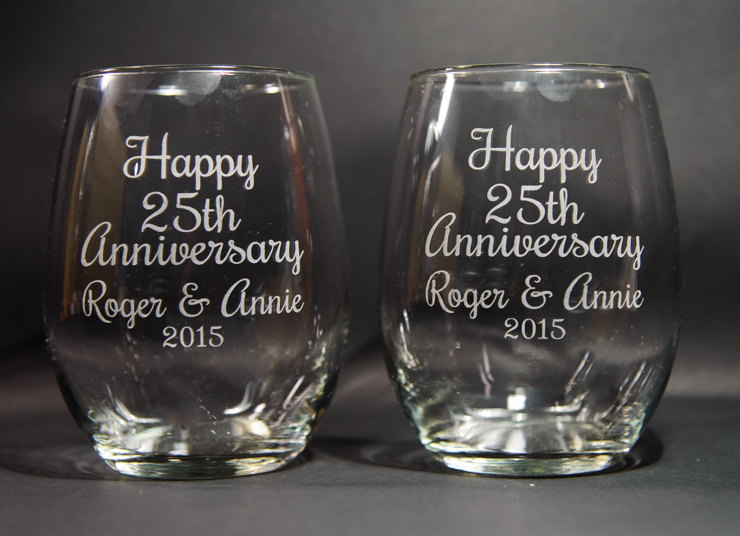 What Gift For 25th Wedding Anniversary: Anniversary Wine Glasses Etched 25th Anniversary Gift