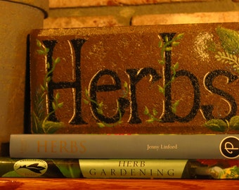 Herbs Brick garden marker, painted Herb vegetable garden