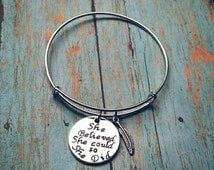 She believed she could so she did - Expandable Style Expandable Bangle Bracelet - Feather Charm - Success Gift - Sobriety Gift