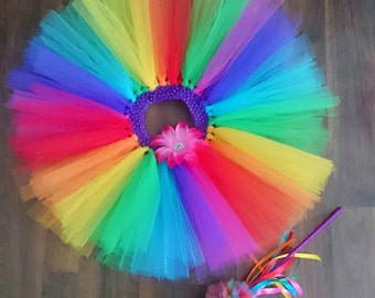 Custom made rainbow tutu set