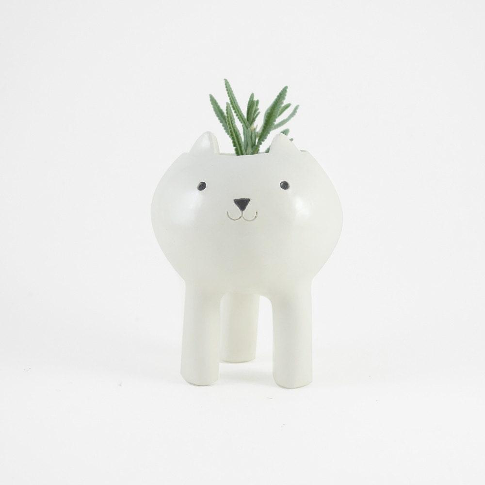 White Cat Planter Ceramic Plant Pot