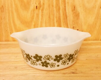 Pyrex Casserole Dish Spring Blossom Green Vintage