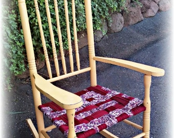 Rocking chair, yellow rocking chair, cottage rocking chair, hand woven seat, Distressed rocking chair, rustic rocking chair, porch rocker