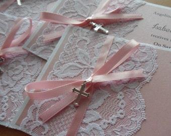 Baby Girl Christening Baptism Pink Vintage Lace Invitation