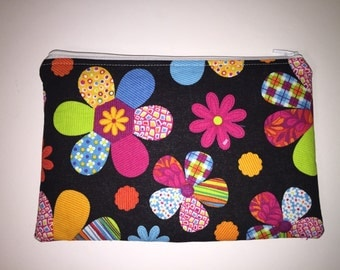 Multi colored floral zippered pouch