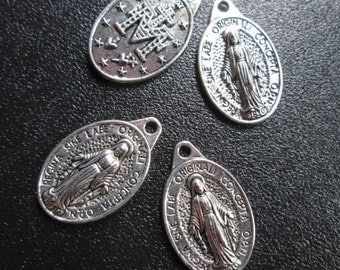 Miraculous Medal Charms package of 4 0ne inch charms double sided Mother Mary Virgin Mary charms Religious charms