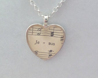 Jesus / sheet music - glass pendant necklace
