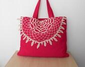 Pink Tote Bag, Canvas Tote Bag, Lace Tote Bag, Boho Bag, Everyday Bag, Pink Shoulder Bag, Crochet Lace Bag