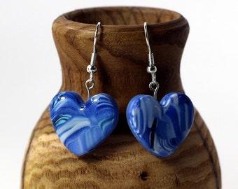 Shades of Blue Heart Earrings